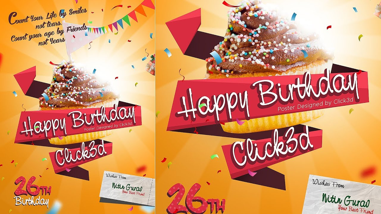 birthday advertising poster design in photoshop click3d youtube