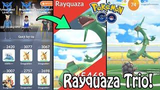 Pokémon GO   FIRST EVER RAYQUAZA RAID BOSS TRIO/3 MAN! (Level 5)   Legendary Gym Raids Ep. 56