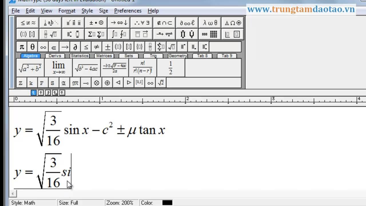 Sử dụng phần mềm Math Type để tạo công thức toán