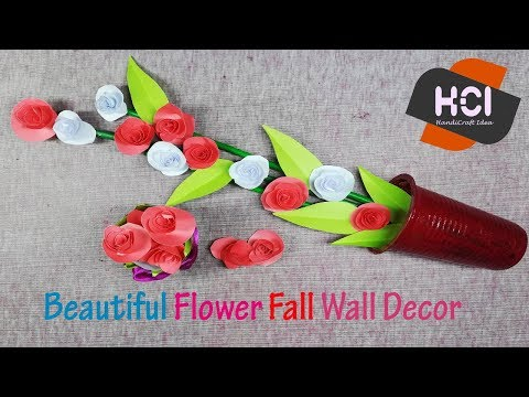 Beautiful Flower Fall Wall Decor Paper Flower wall decoration wall hanging HandiCraft Idea