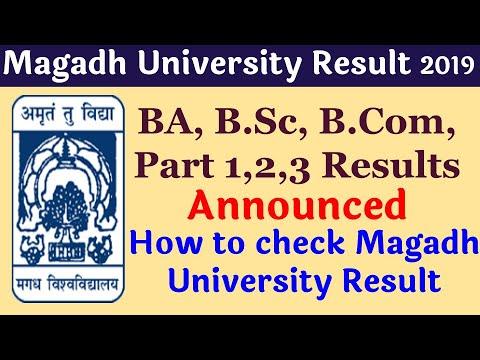 Magadh University Result 2019 Declared BA, B Sc, B Com, Part