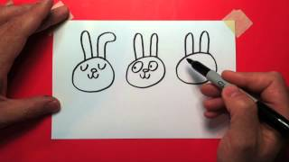 How to draw a cartoon bunny face