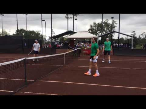 Isner/Sock vs. Donaldson/Fish - Doubles Practice at #USClay
