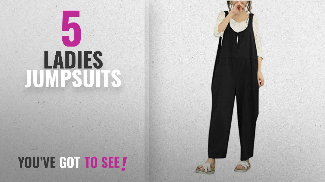 a0bef13121 Top 10 Ladies Jumpsuits  2018   Anglewolf Lady Girl s Fashion Sleeveless  Dungarees Loose Cotton