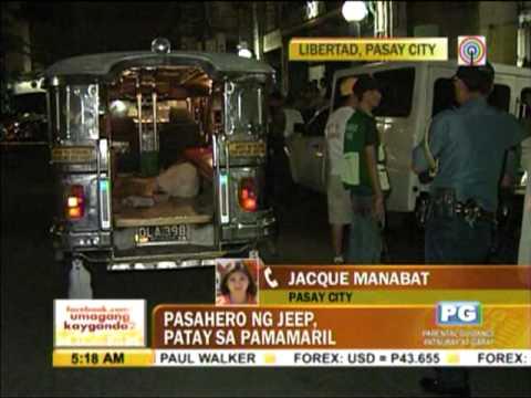 Jeepney passenger shot dead in Pasay