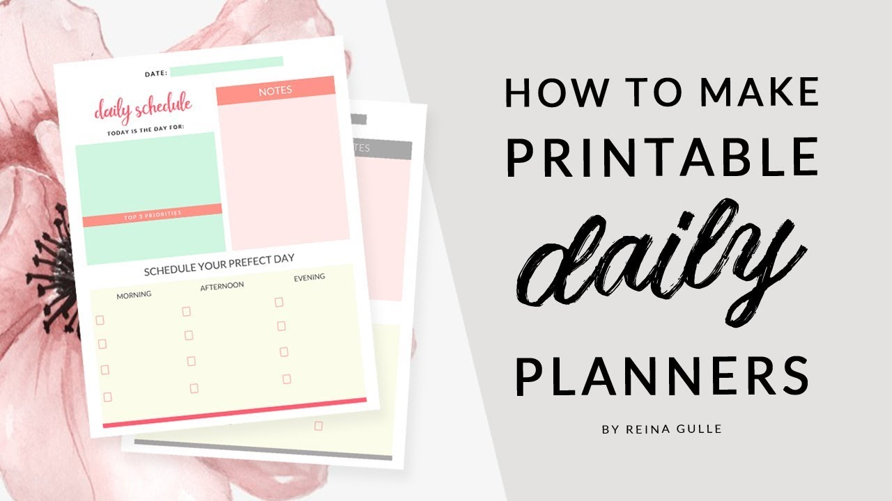 photo about How to Create a Printable identified as How in direction of Create Printable Everyday Planner within Photoshop Totally free Down load 💛Simple Tutorials with Reina