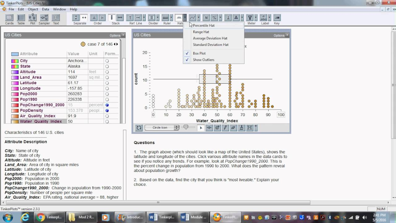 Box Plots Median And Mean In Tinkerplots Video