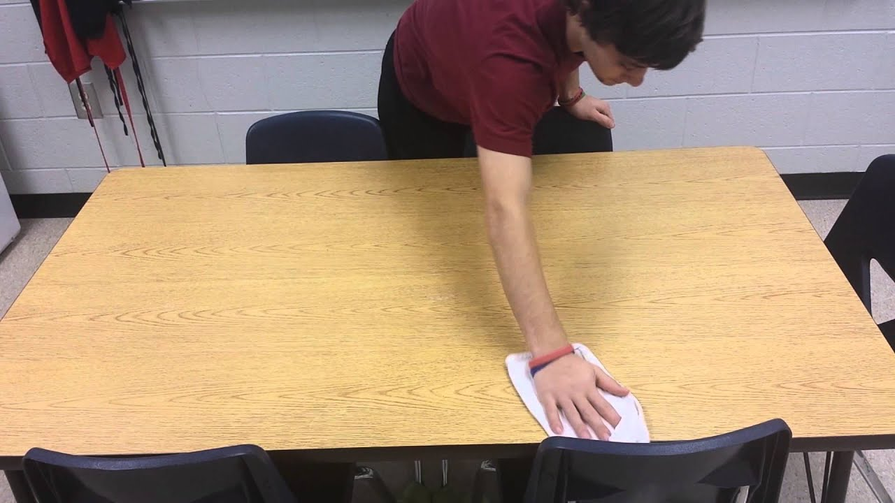 Clean cafeteria tables - How To Wipe A Table