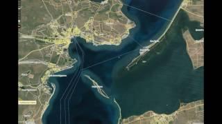 Керченский мост вид со спутника 25 Февраля 2017