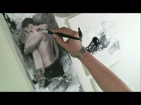 Acrylmalerei Tutorial Thema Collage - männlicher Akt im Hochformat Begleitvideo zur Zeitschrift