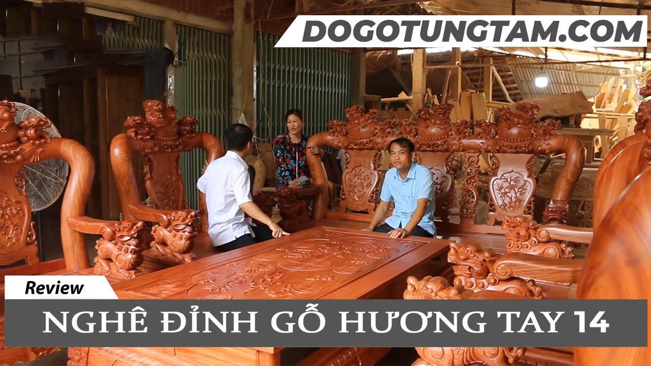 Bộ bàn ghế NGHÊ ĐỈNH cột 14,10 món gỗ HƯƠNG ĐÁ Siêu KỸ   Bác Hoàng Yên Lậ