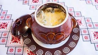 Картошка с грибами в горшочках под сыром Картофель в духовке с грибами Картопля з грибами в духовці