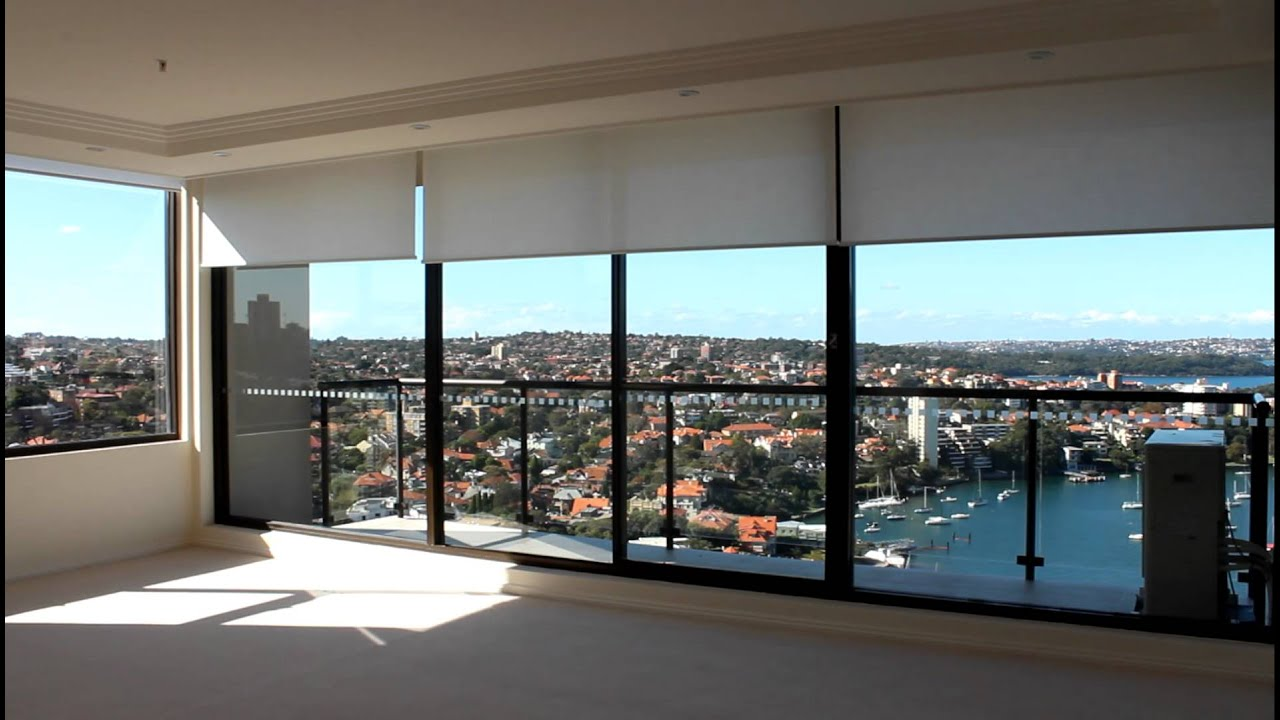 North Sydney Apartment Motorised Remote Control Roller Blinds Silent