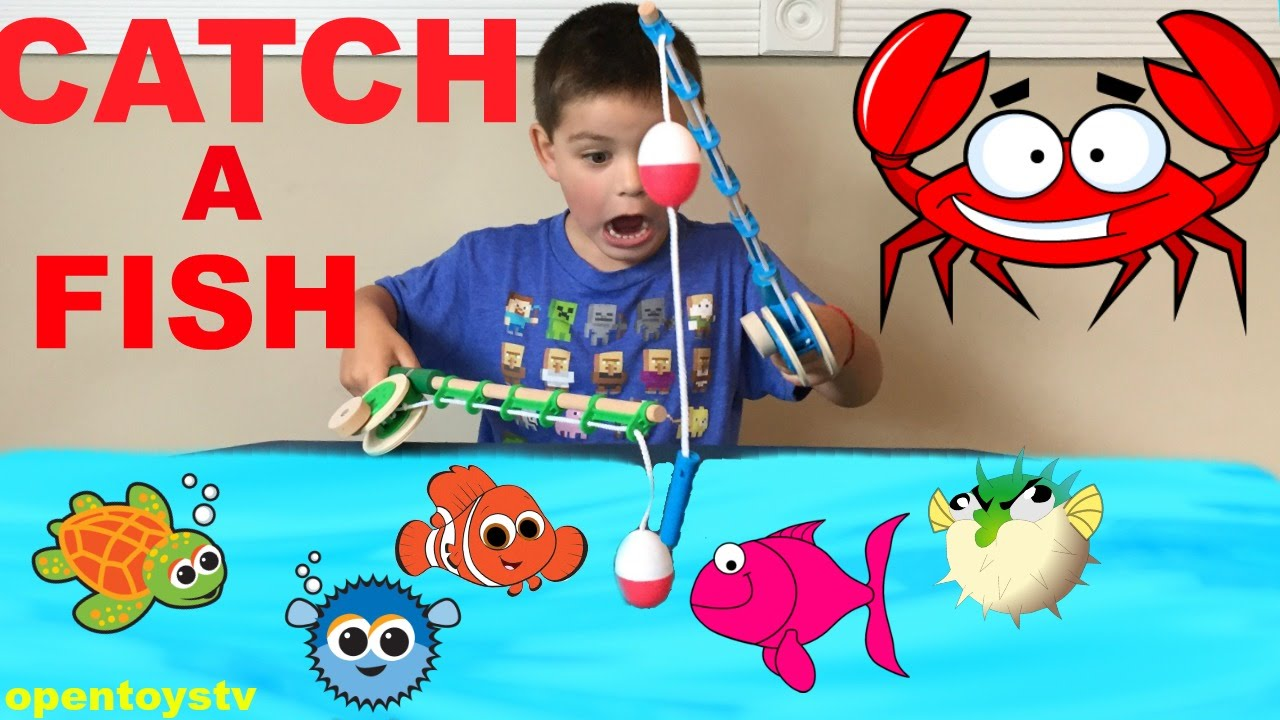 Catch and fishing challenge with daddy playing with toys for Catch and count fishing game
