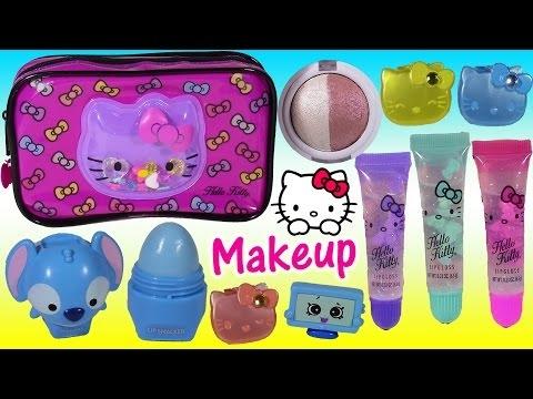 f01b003006 Hello Kitty Makeup Bag! LIP GLOSS Lip Smacker Eyeshadow SHOPKINS Disney  Princess! Beauty FUN