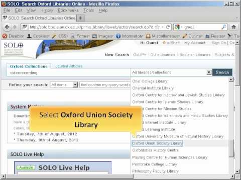 Oxford Union Library - DVDs on SOLO