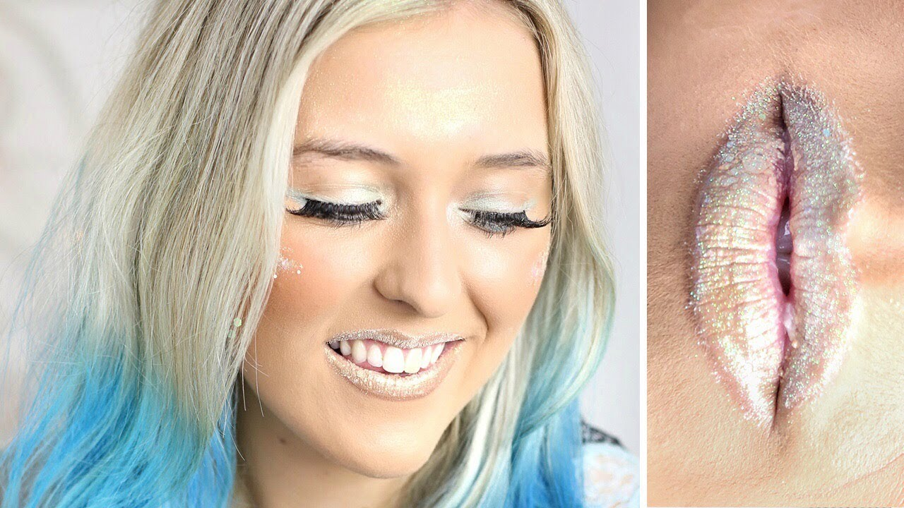 Glittery ombre festival makeup // fairy princess pastel liner.