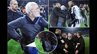 The head of Greek club PAOK stops his team's match and threatens to rule with a pistol
