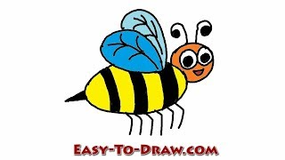 How to draw a cartoon honey bee step by step - Free & Easy Tutorial for Kids