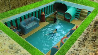 Building Cave Platinum Underground Swimming Pool With Underground Private Living Room