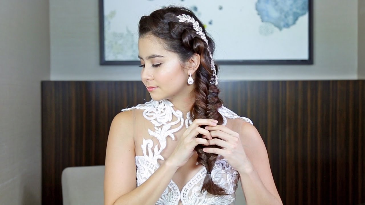match your wedding hairstyle with your gown's neckline