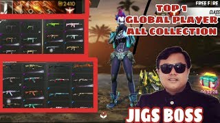 Cover images TOP  GLOBAL PLAYER JIGS ALL COLLECTION||BOSS GUILD||FREE FIRE BATTLE GROUND