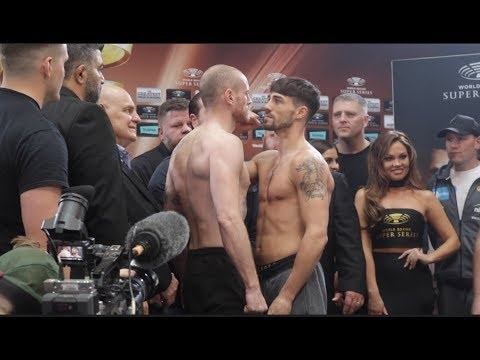 INTENSE!! GEORGE GROVES v JAMIE COX - OFFICIAL WEIGH IN & HEAD TO HEAD / WORLD BOXING SUPER SERIES