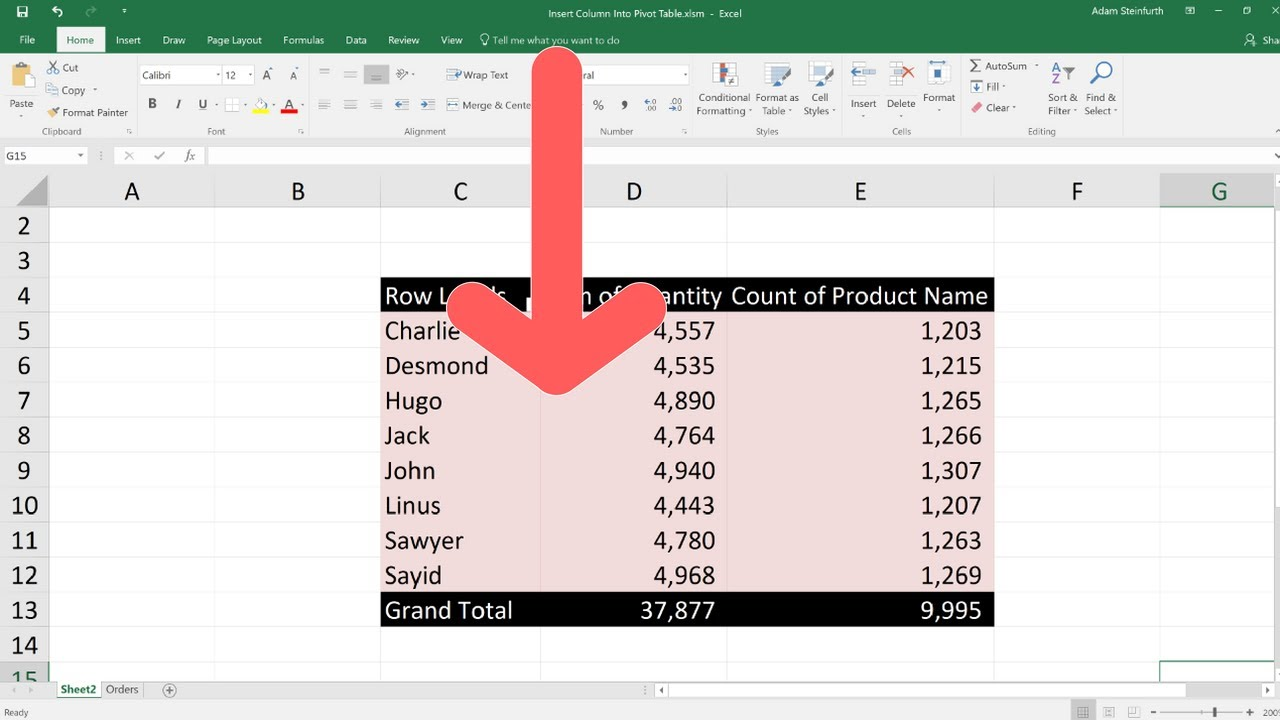 Excel Pivot Tables - Add a Column with Custom Text