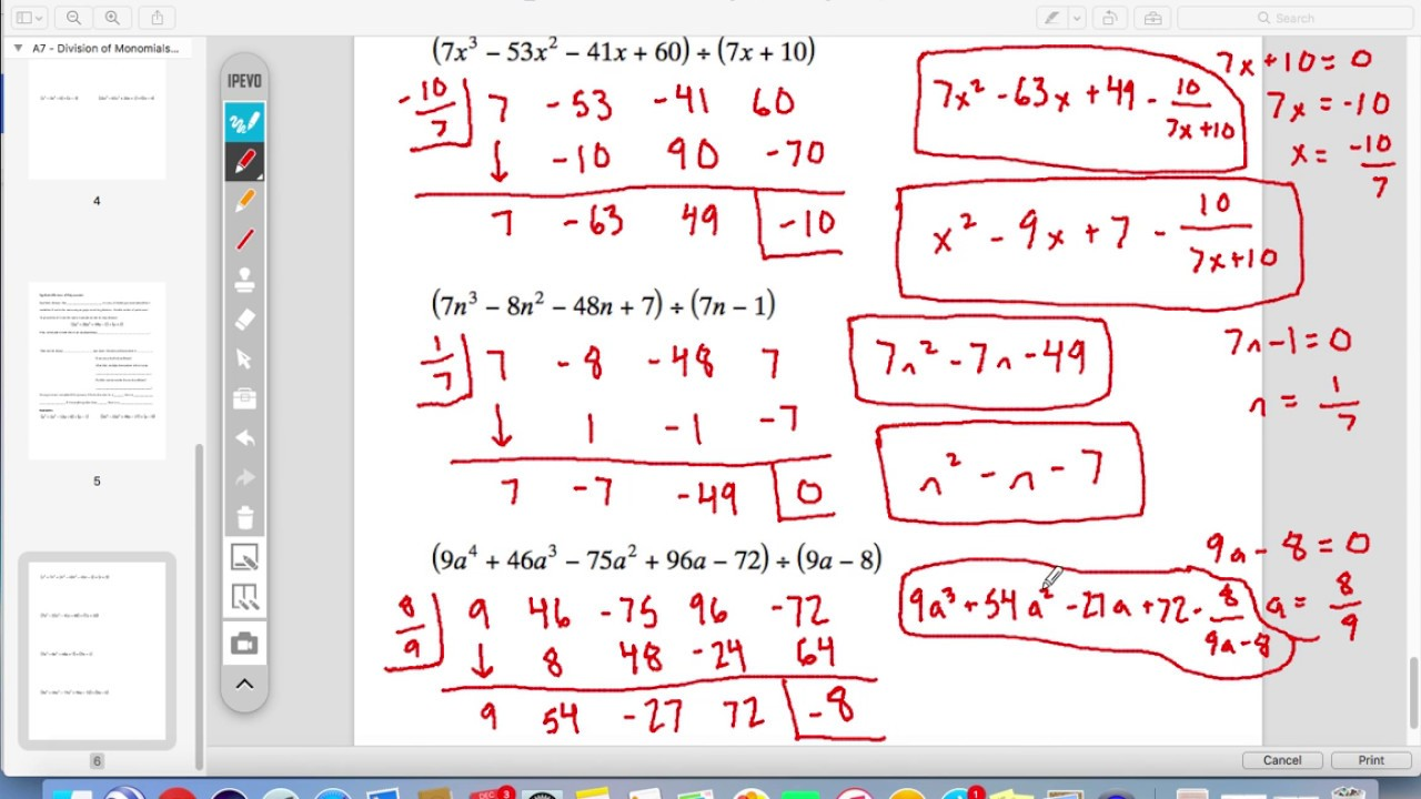 Examples A7 Synthetic Division Of Polynomials Youtube