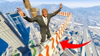 SCARIEST LEDGE PARKOUR CHALLENGE! - (GTA V Funny Moments)
