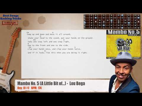 Mambo No. 5 (A Little Bit of...) -Lou Bega Guitar Backing Track with chords and lyrics