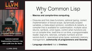 """2018 LLVM Developers' Meeting:  C. Schafmeister """"Lessons Learned Implementing Common Lisp with LLVM"""""""
