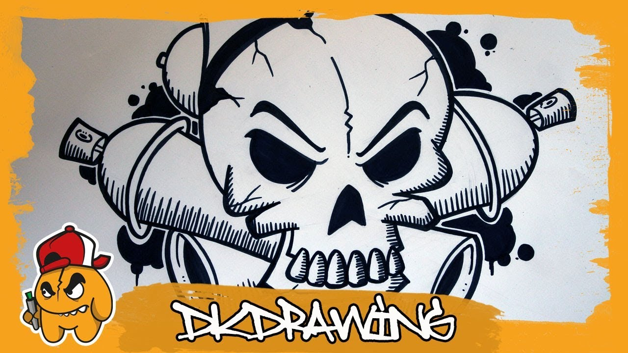 How To Draw A Graffiti Skull Crossed Spraycans