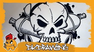 How to draw a graffiti skull & crossed spraycans