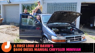 homepage tile video photo for David's First Look At The 250k Mile Diesel Manual Chrysler Minivan He Bought Sight Unseen For $600