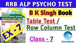 TABLE TEST / ROW COLUMN TEST    FOLLOWING DIRECTION TEST   Class - 7   RRB ALP PSYCHO TEST CBT3