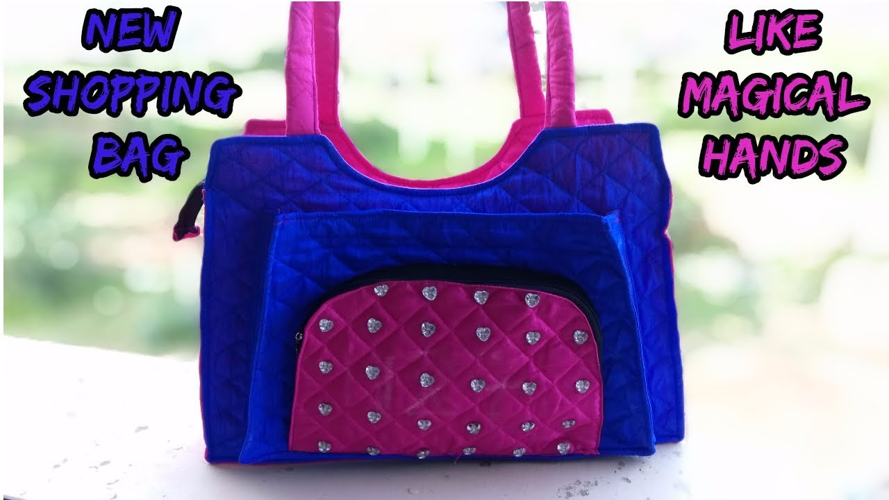 shopping bag (new design) make at home/cutting and sewing/how to ...