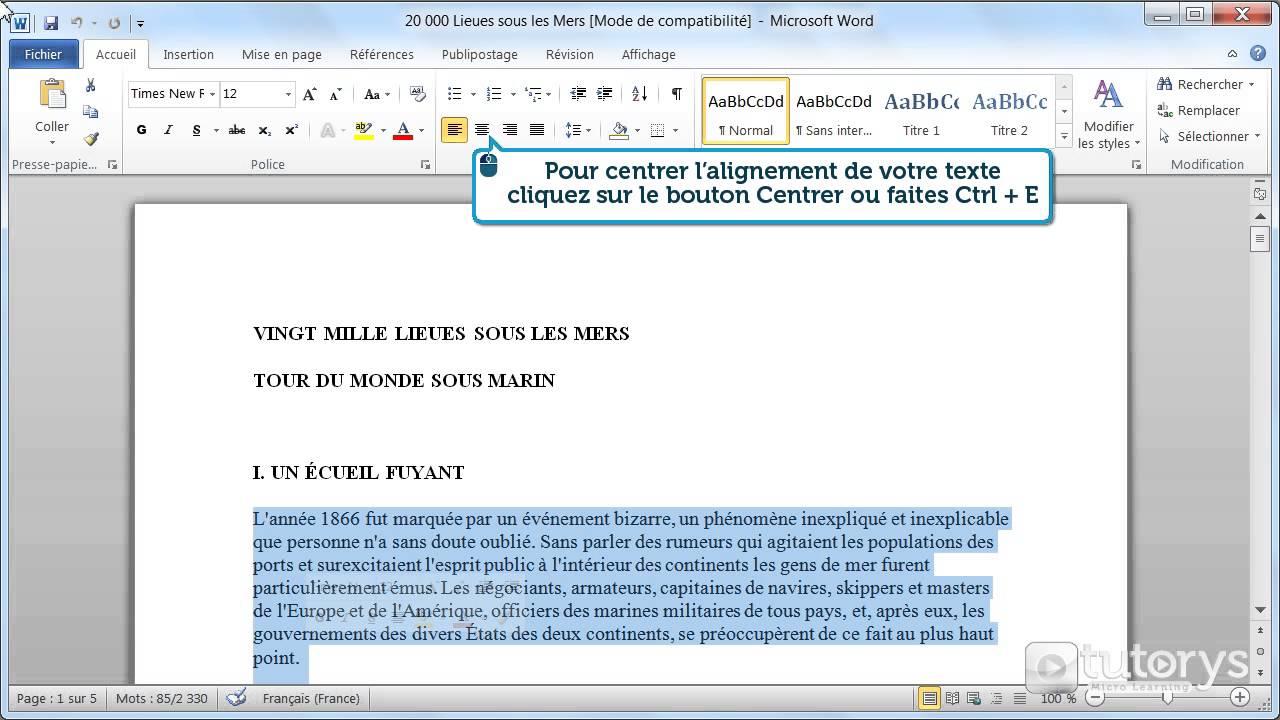comment modifier l u0026 39 alignement du texte avec word 2010