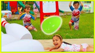 Slip N Slide Bowling Toy Challenge for Egg Surprise Toys!