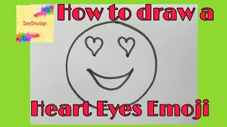 How to draw a Heart Eyes Emoji easy Step by Step | Emoji Drawings
