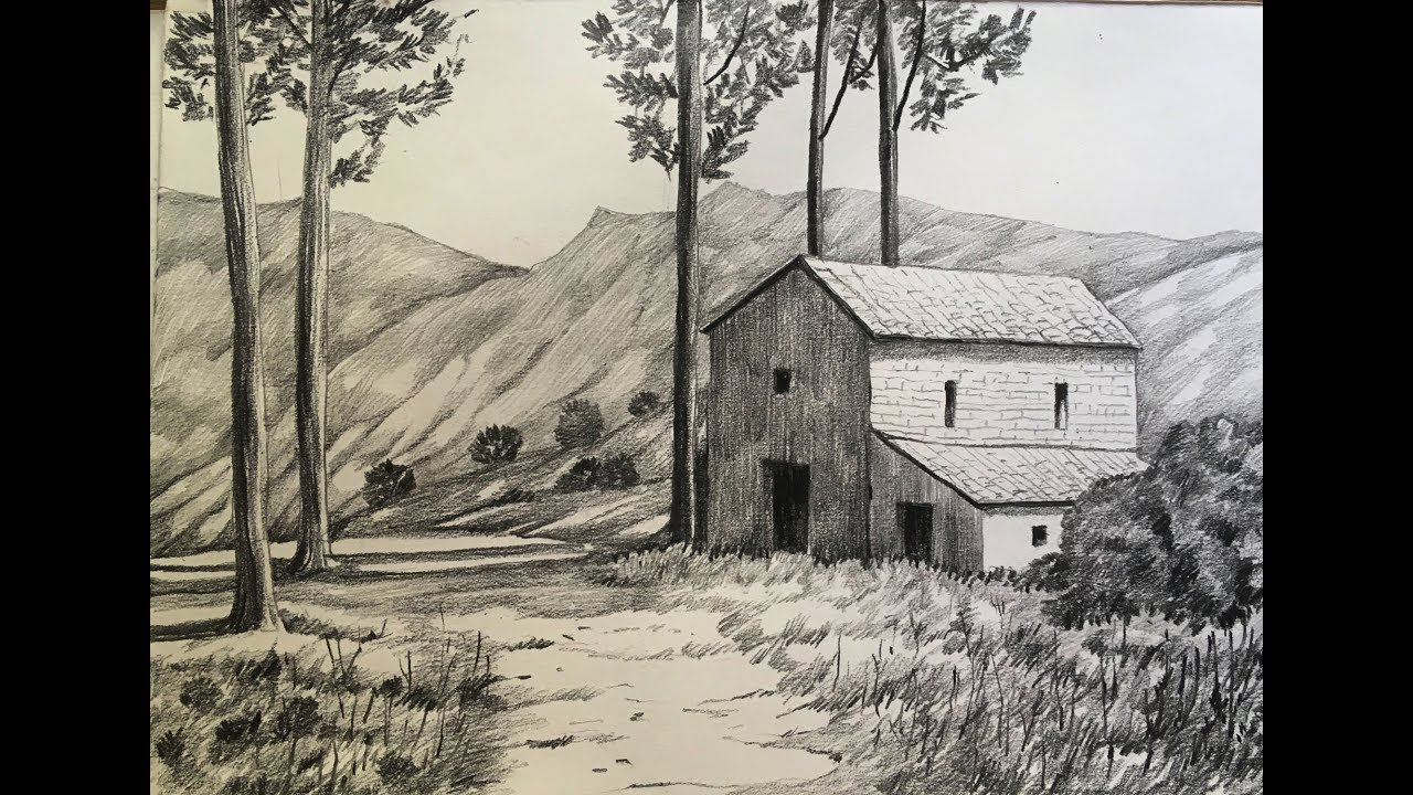 Simple landscape drawing in pencil | how to draw a scenery ...