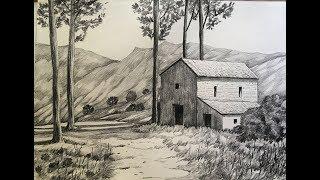 drawing pencil scenery draw landscape simple sketch easy sketching sketchbook