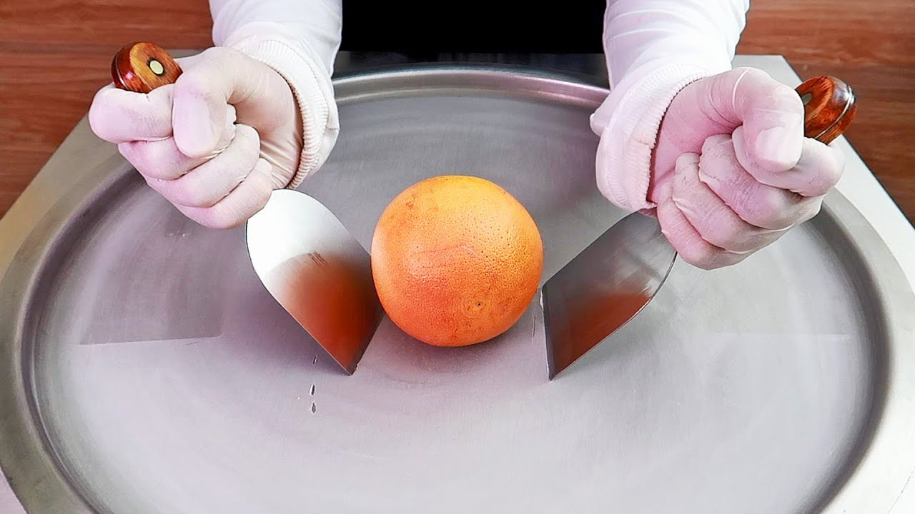 Grapefruit ice cream rolls street food - ايس كريم رول جريب فروت
