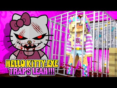 Minecraft CREATING HELLO KITTY .EXE - HELLO KITTY .EXE TAKES OVER LEAH'S PALACE!!!