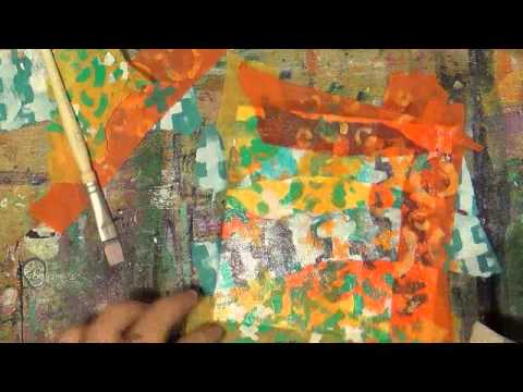 24 of 50 Canvases in 2014:  Torn Tissue Paper Mixed Media Speed Painting