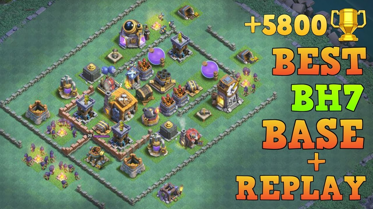 Best Builder Hall 7 Base W Replay 5800 Trophy Coc Bh7 Base Design Clash Of Clans Youtube