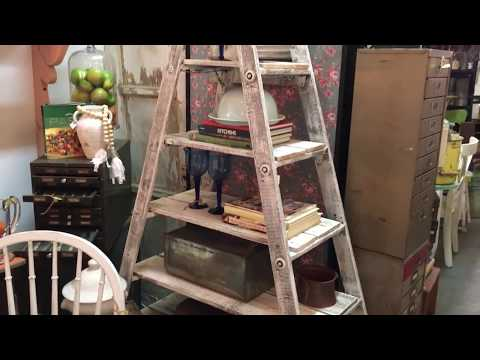DIY  $30 Rustic wood ladder shelf project. Great project for all skill levels.
