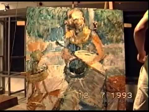 Kostas Loustas is painting Mary Soidou