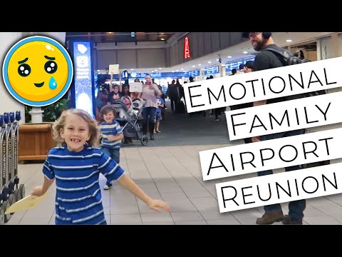 Emotional Family Airport Reunion // Husband/Wife, Father/Sons/Daughters
