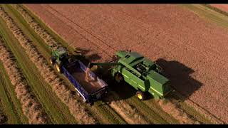 Farm Operations & Combine Harvester and Bale wrapping Carrbridge, Scotland  aerial video